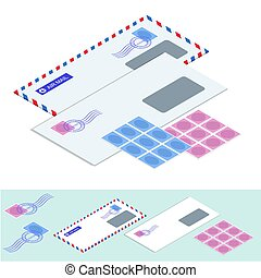 Isometric postal envelopes. Mail Envelope, Stickers, Stamps And Postcard Vintage Style Vector