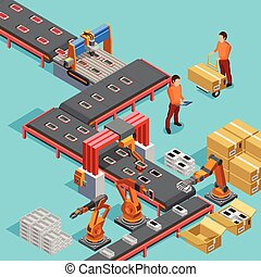 isometric, poszter, gyár, termelés, automatizált, egyenes