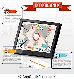 isometric, povolání, společenský, infographics, národ, pc, tabulka, společenství, ikona, dále, graf, 3, mapa světa, grafické pozadí, vektor, ilustrace