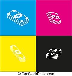 isometric, poznaczcie., dolar, żółta nuta, magenta, czarnoskóry, rzuty, vector., backgrounds., biały, bank, cyan, ikona