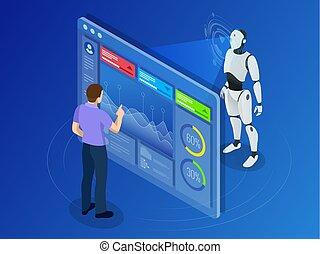 isometric, pracujący, display., programowanie, robot, utrzymanie, cyfrowy, inżynier
