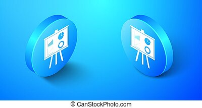 Isometric Presentation financial business board with graph, chart, diagram, pie graph icon isolated on blue background. Infographic board sign. Blue circle button. Vector
