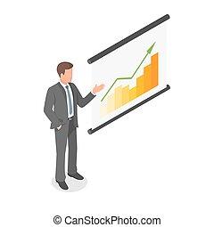 isometric, presentation., visande, illustration, vektor, affärsman