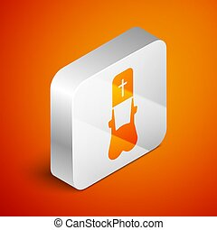 Isometric Priest icon isolated on orange background. Silver square button. Vector Illustration