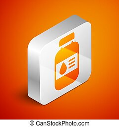 Isometric Printer ink bottle icon isolated on orange background. Silver square button. Vector