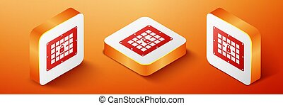 Isometric Prison window icon isolated on orange background. Orange square button. Vector