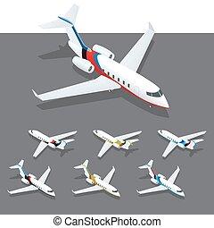 Isometric private jet. Isometric infographic elements set...