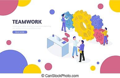 isometric, process., trabalho equipe, concept., negócio