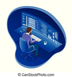 Isometric programmer working in a software develop company...