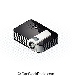 Isometric Projector Vector Illustra - This image is a modern...