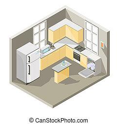 isometric, projektować, kuchnia