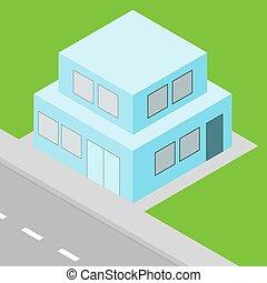 isometric, propriedade, casa, suburbano, pequeno, vista
