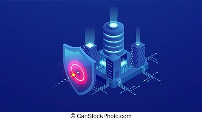 Isometric Protection network security and safe your data...