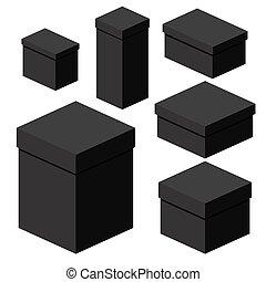 isometric, przewóz, sortuje, pakowanie, różny, kabiny, czarnoskóry, dary