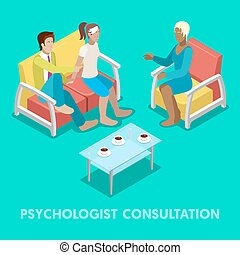 Isometric Psychologist Consultation. Couple on Psychotherapy. Vector 3d flat illustration