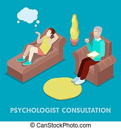 Isometric Psychologist Consultation. Man on Psychotherapy. Vector 3d flat illustration