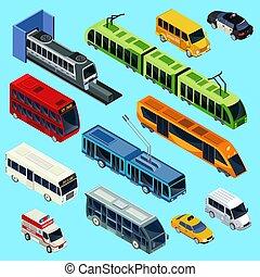 Isometric Public Transport Set - Isometric public transport...