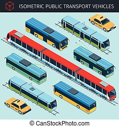 public transport vehicles - Isometric public transport...