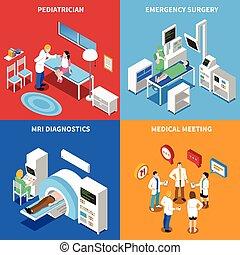 isometric, quadrado, paciente, ícones, hospitalar, 4