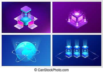 Isometric Quantum computing or Supercomputing. A quantum computer is a device that performs quantum computing. Vector illustration.