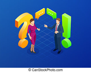 Isometric question and answer concept. Discussion man and women vector illustration.