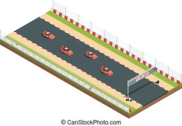 Isometric Race Track Composition - Car race track isometric...