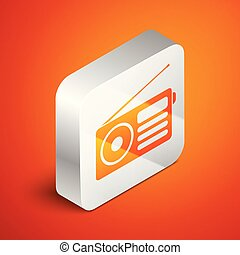 Isometric Radio with antenna icon isolated on orange background. Silver square button. Vector Illustration