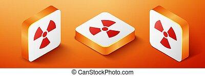 Isometric Radioactive icon isolated on orange background. Radioactive toxic symbol. Radiation Hazard sign. Orange square button. Vector.