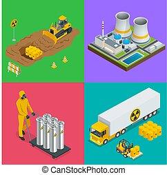 Isometric Radioactive waste elements. Vector hazard and radiation vector illustrations.