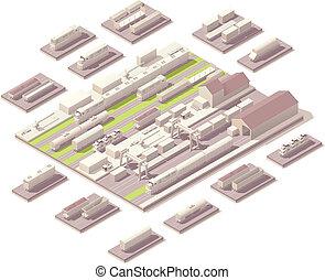 Isometric railroad yard - Vector isometric rail yard with...