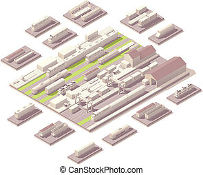 Vector isometric rail yard with set of railroad cars and locomotives