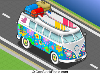 Isometric Rainbow Van in Front View - detailed illlustration...