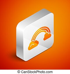 Isometric Rainbow with clouds icon isolated on orange background. Silver square button. Vector Illustration