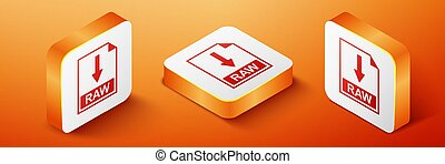 Isometric RAW file document icon. Download RAW button icon isolated on orange background. Orange square button. Vector