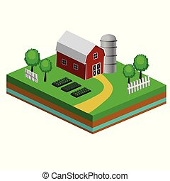 Isometric Red Barn And Trees cows vector illustration