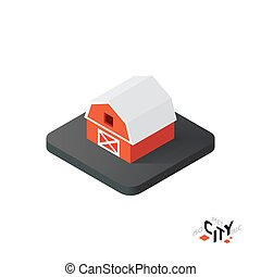 Isometric red barn icon, building city infographic element, vector illustration