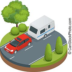 Isometric red car with Camping trailer on road. Travel concept. Recreational vehicles.