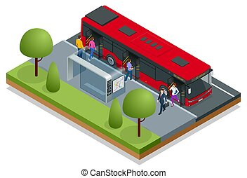 Isometric red City Bus at a bus stop. People get in and out of the bus. Public transport with driver and people.