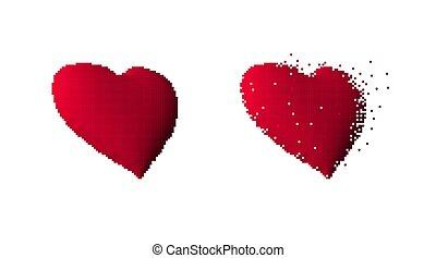 Isometric red heart symbol pixel art isolated on white background