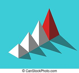 Isometric red leader pyramid