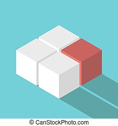 Isometric red missing cube
