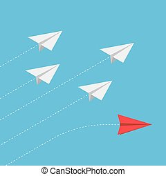 Isometric red paper airplane changing direction from the group