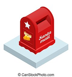 Isometric Red Santa Letterbox isolated on white background.