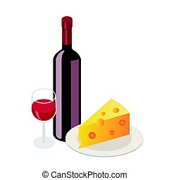 Isometric red wine bottle with glass on white background