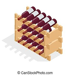 Isometric Red wine bottles stacked on wooden racks. Vector...
