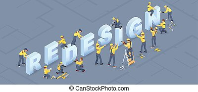Isometric redesign services concept. Builders installed ...