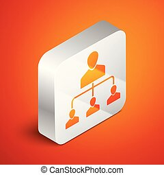 Isometric Referral marketing icon isolated on orange background. Network marketing, business partnership, referral program strategy. Silver square button. Vector Illustration