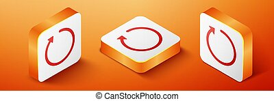 Isometric Refresh icon isolated on orange background. Orange square button. Vector