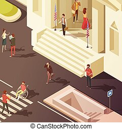 isometric, regering, illustratie, mensen