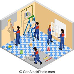 isometric, renovering, komposition